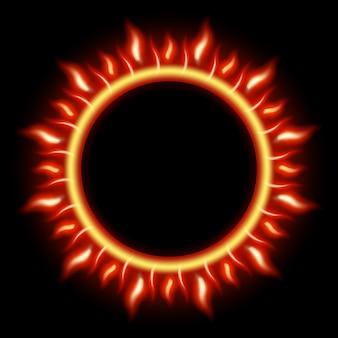 Cerchio bruciante astratto del fuoco di eclissi solare.