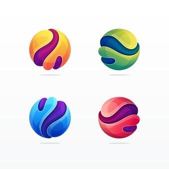 Icona moderna variopinta dimensionale della sfera astratta