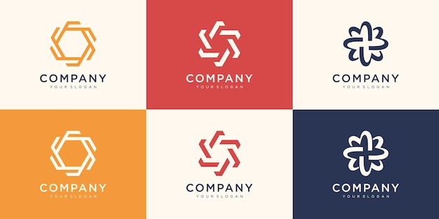 Modello astratto di logo di vortice di filatura. usa il logo per la tecnologia digitale, lo sport, la comunità.