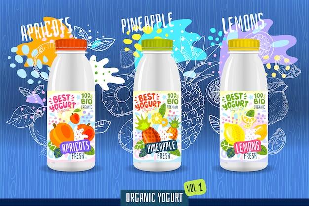 Modello astratto dell'etichetta della bottiglia del yogurt della spruzzata, manifesto di pubblicità. frutti organici, yogurt, latte design del pacchetto. albicocche, ananas, limone. illustrazione di disegno