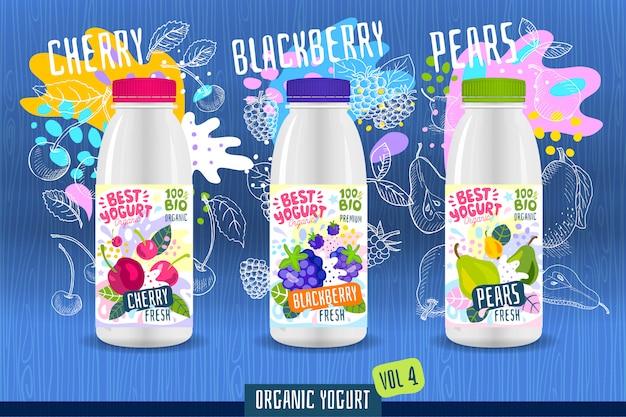 Modello astratto dell'etichetta della bottiglia del yogurt della spruzzata, manifesto di pubblicità. frutti organici, yogurt, latte design del pacchetto. ciliegia, mora, pera. illustrazione di disegno