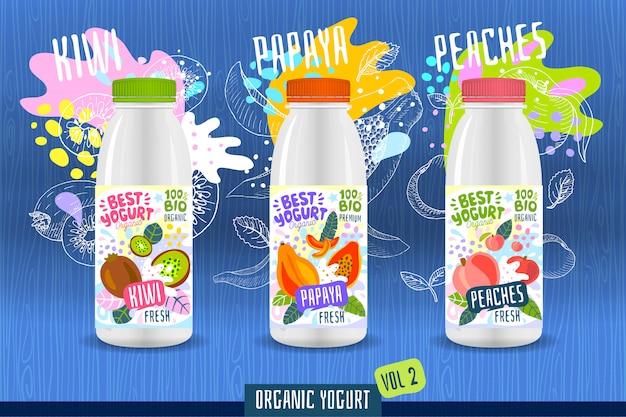 Modello astratto dell'etichetta della bottiglia del yogurt della spruzzata, manifesto di pubblicità. frutti organici, yogurt, latte design del pacchetto. kiwi, papaia, pesca. illustrazione di disegno