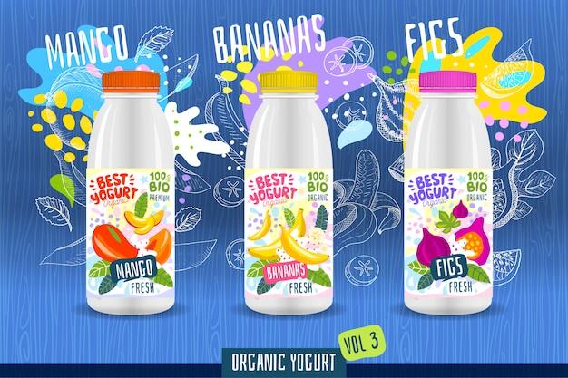 Modello astratto dell'etichetta della bottiglia del yogurt della spruzzata, manifesto di pubblicità. frutti organici, yogurt, latte design del pacchetto. mango, banana, fig. illustrazione di disegno
