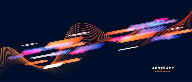 Bandiera di sport astratto con particelle dinamiche Vettore Premium