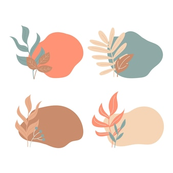 Macchia astratta e foglie autunnali in colori pastello sfondo per carte tag