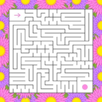 Labirinto isolato quadrato astratto.