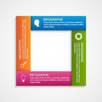 Modello astratto di infographics di opzioni quadrate.