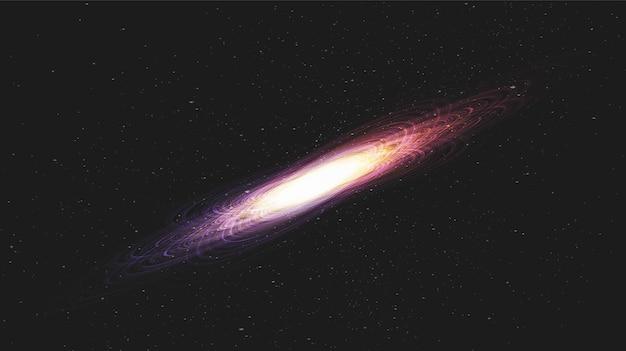 Luce astratta della stella sul fondo della galassia con la spirale della via lattea