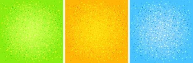 Set di sfondi astratti di stelle. colori verdi, arancioni, blu. modello a stella. illustrazione vettoriale