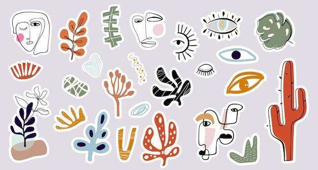 Collezione di adesivi astratti forme di scarabocchio disegnate a mano con diversi elementi di design moderno