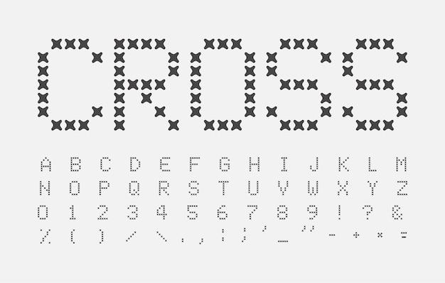 Set di lettere di punti astratti. alfabeto incrociato. seam titolo abc. disegno del carattere a punto croce. lettera vettoriale nera su sfondo bianco