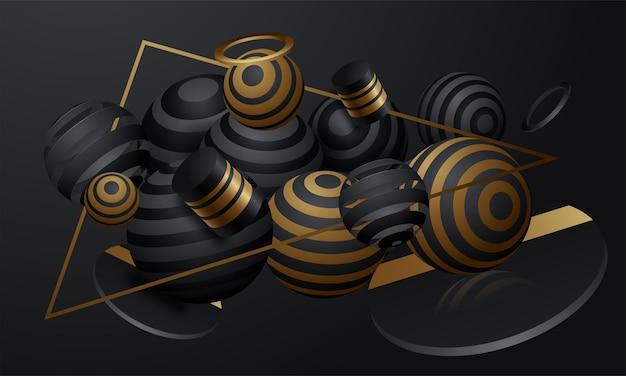 Sfondo vettoriale di sfere a strisce astratte