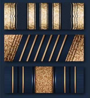 Oro di lusso in stile astratto con struttura in metallo blu scuro