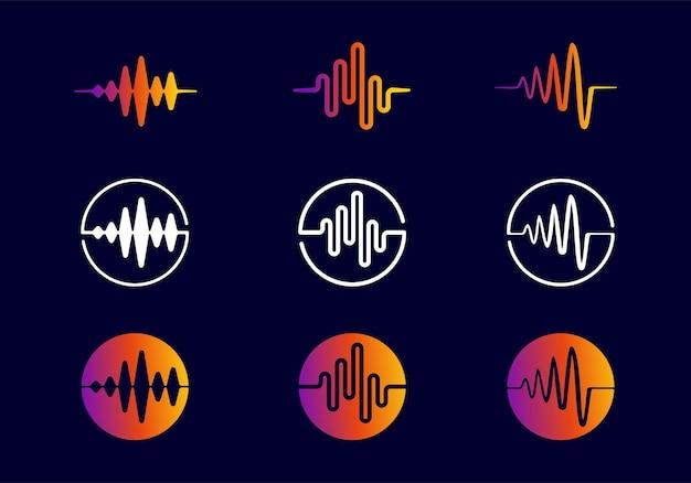 Collezione di design dell'icona del logo dell'equalizzatore dell'onda sonora in stile astratto