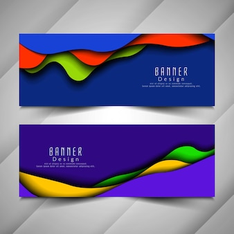 Set di bandiere ondulate colorate alla moda astratte
