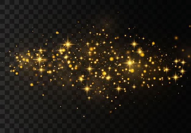 Effetto luce elegante astratto su uno sfondo nero trasparente. scintille giallo polvere giallo e stelle dorate brillano di luce speciale. scintille scintillanti particelle di polvere magica.