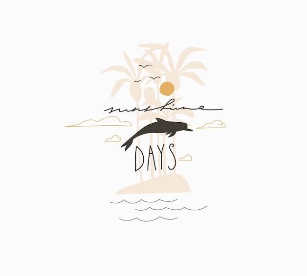 Cartone animato estivo astratto, logo con illustrazioni minimaliste, con silhouette di un'isola di palme tropicali