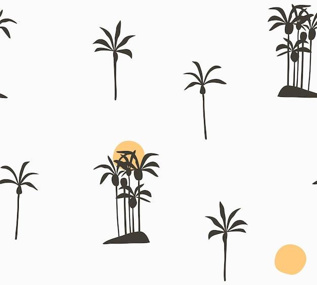 Cartone animato estivo astratto, illustrazioni minimaliste modello senza cuciture con palme tropicali