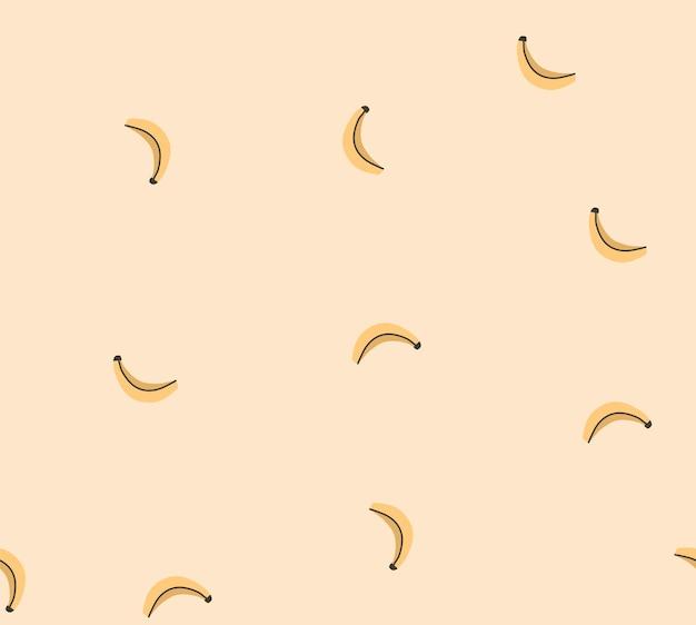 Cartone animato estivo astratto, illustrazioni in stile minimalista modello senza cuciture con frutta di banana