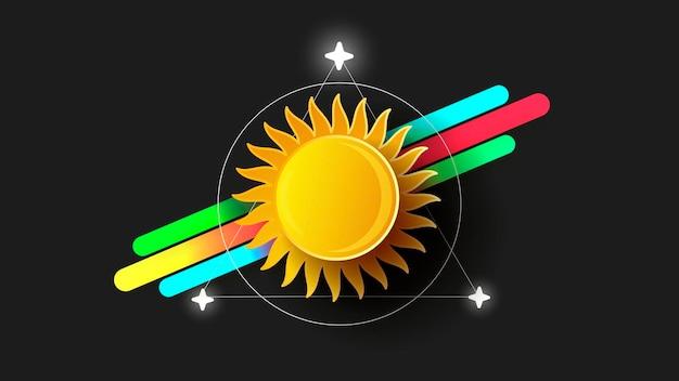Logo astratto del sole su illustrazione vettoriale di sfondo nero
