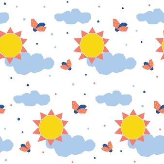 Fondo senza cuciture del modello del sole astratto. semplice applicazione infantile copertura sole e coccinella per biglietti di design, inviti, pannolini, pubblicità per laboratori, t-shirt, menu per bambini, stampa di borse, ecc.