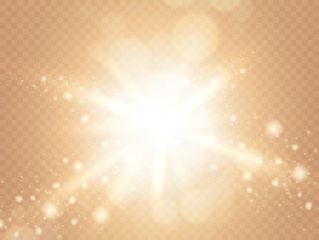 Luce solare astratta isolata su sfondo trasparente caldo morbido