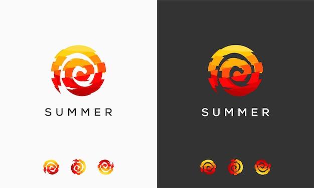 Il logo astratto di una giornata di sole progetta il simbolo, il modello di logo di vettore del sole astratto