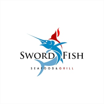 Pesce spada astratto logo vettoriale seafood and grill