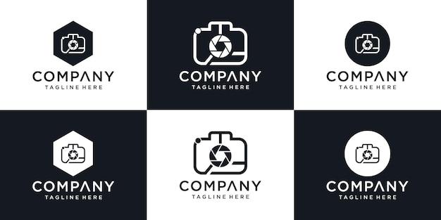 Simbolo astratto per uno studio fotografico in un semplice logo in stile minimalista