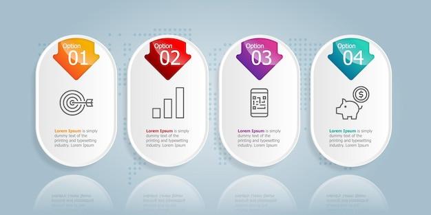 Modello dell'elemento di presentazione di infographics orizzontale della barra della scheda astratta con l'icona di affari 4 opzione sfondo dell'illustrazione vettoriale