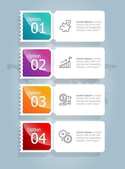 Modello di elemento di presentazione di infographics verticale della barra della scheda astratta con l'icona di affari 4 opzione illustrazione vettoriale sfondo