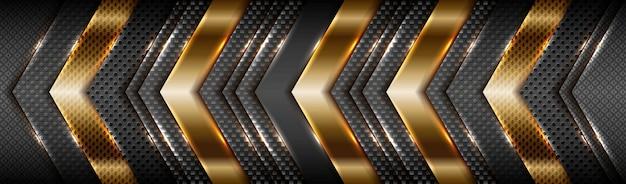 Oro opaco sfumato tecnologia astratta con sfondo nero strato di materiale
