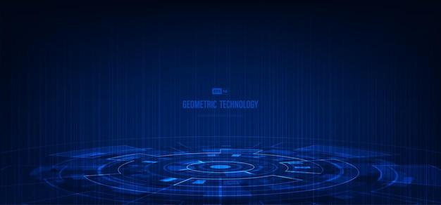 Interfaccia astratta di tecnologia del modello di stile geometrico blu con potere. sovrapposizione di sfondo di colore tono scuro.