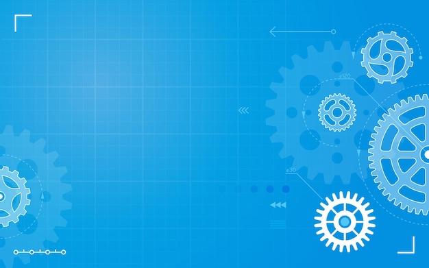 Progetto di disegno tecnico astratto con tecnologia di ingegneria meccanica di ingranaggi dell'ingranaggio