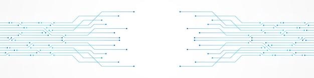 Fondo astratto di tecnologia, modello blu del circuito, microchip, linea elettrica