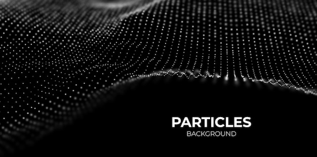 Fondo astratto di tecnologia onda di particelle bianche digitali visualizzazione della struttura del suono