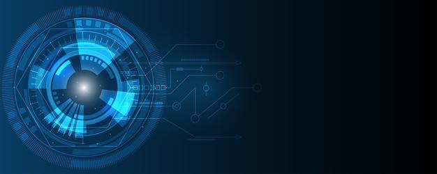 Fondo astratto di tecnologia, fondo di innovazione di concetto di comunicazione hi-tech, fondo blu digitale di scienza e tecnologia