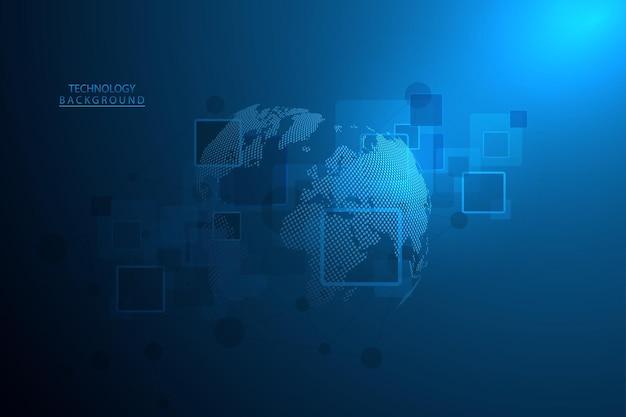 Fondo astratto di tecnologia fondo futuristico dell'innovazione digitale di concetto di comunicazione hitech per la scienza della connessione web globale