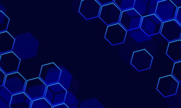 Fondo astratto di tecnologia con esagonale blu. illustrazione vettoriale.
