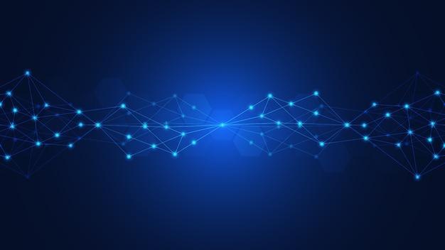 Fondo astratto di tecnologia con punti e linee di collegamento. tecnologia digitale di connessione e comunicazione di rete globale.