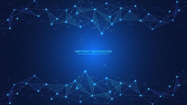 Fondo astratto di tecnologia con punti e linee di collegamento