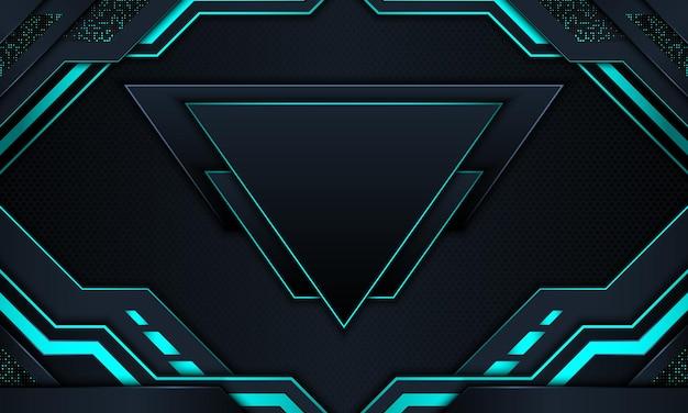 Sfondo tecnologia astratta con strisce al neon blu scuro e blu.