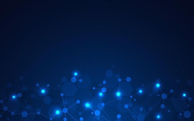 Fondo astratto di tecnologia con le molecole di ingegneria genetica delle strutture molecolari dna