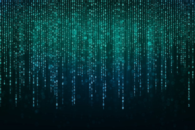 Tecnologia astratta codice binario sfondo con dati binari che cadono dalla parte superiore dello schermo. dati binari digitali e secure data concept