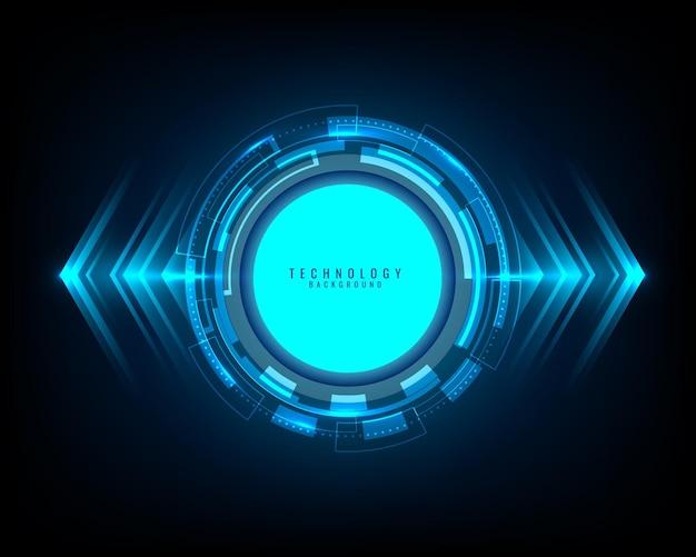 Cerchio blu di tecnologia astratta, fascio di luce e freccia