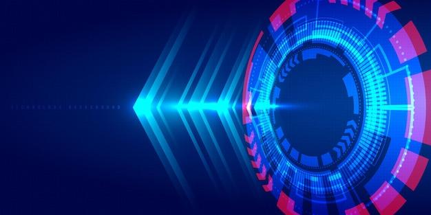 Cerchio hud blu tecnologia astratta, fascio di luce e freccia.