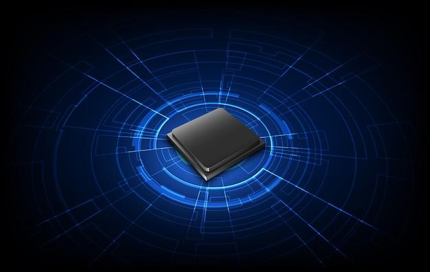 Circuito astratto del fondo del processore del chip di tecnologia e codice html, vettore blu del fondo di tecnologia dell'illustrazione 3d.