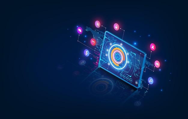 Circuito astratto del fondo del processore del chip di tecnologia e codice html, vettore blu del fondo di tecnologia dell'illustrazione 3d. Vettore Premium