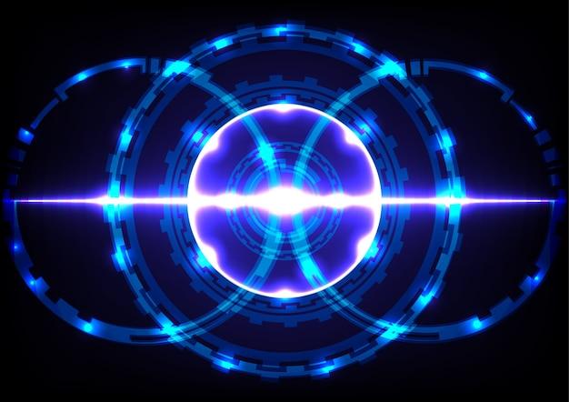 Abstract cerchio tecnologia effetto sfondo blu chiaro