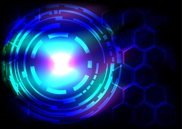 Cerchi di tecnologia astratta ligth sfondo vettoriale effetto